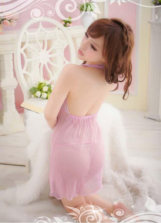 半透明粉色蕾丝情趣内衣性感而诱人的越南妹妹